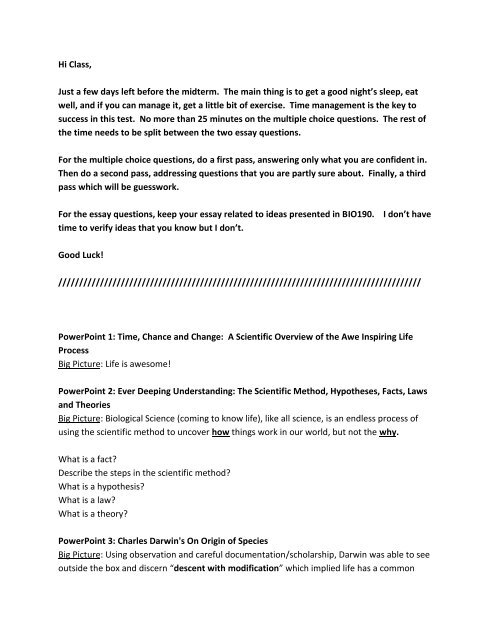 essay questions on the scientific method