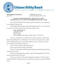 CUB's news release - Citizens Utility Board