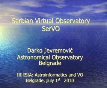 Serbian Virtual Observatory SerVO