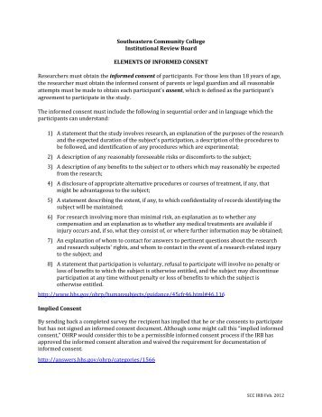 Elements of Informed Consent - Southeastern Community College
