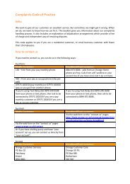 Ofcom Approved Code of Practice for Complaints Handling - Orange