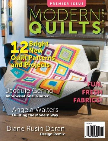 PREMIER ISSUE MODERN QUILTS - Machine Quilting Unlimited