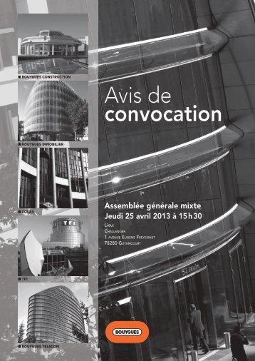 Avis de convocation - Bouygues