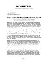 CompUSA Set to Launch  Monster® iCruze™ - Monster Cable