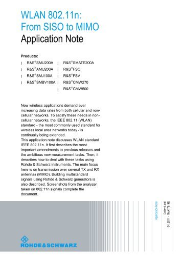 WLAN 802.11 n: From SISO to MIMO - Microwave Journal