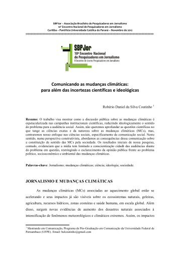 Comunicando as mudanças climáticas - Grupo de Pesquisa ...