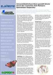 Universitätsklinikum Bonn genießt Schutz durch den russischen Anti ...