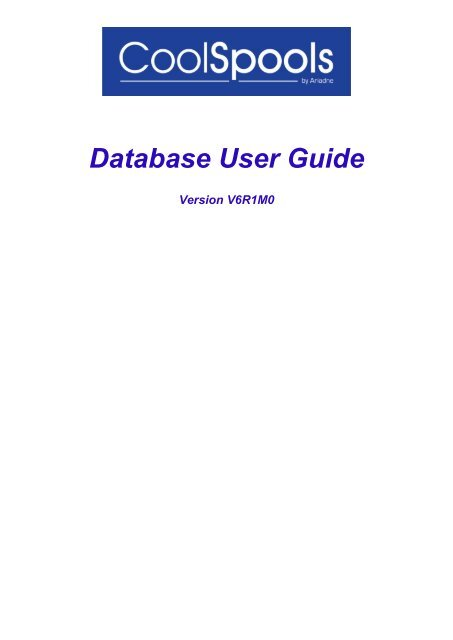 Database User Guide CoolSpools