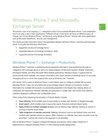 Windows® Phone 7 and Microsoft® Exchange Server - WinHelpline