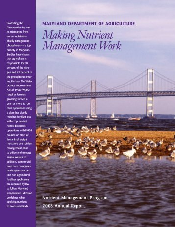 Making Nutrient Management Work - Maryland Department of ...