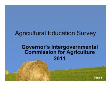 Agricultural Education Survey - Maryland Department of Agriculture