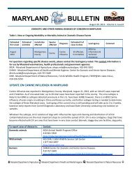 Maryland One Health Bulletin Vol 3 Issue 8 - Maryland Department ...