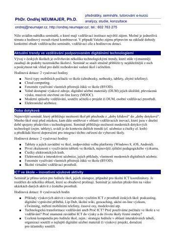 Nabídka služeb a reference (PDF, 128 kB) - Ondřej Neumajer