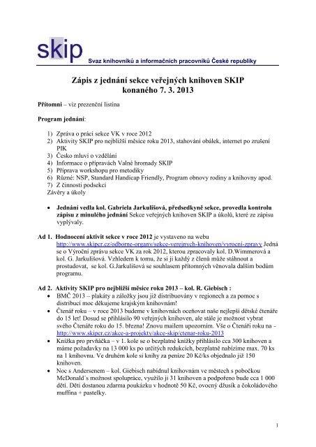 Zápis z jednání sekce veřejných knihoven SKIP konaného 7.3.2013