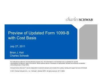 Preview of Updated Form 1099-B with Cost Basis - Charles Schwab