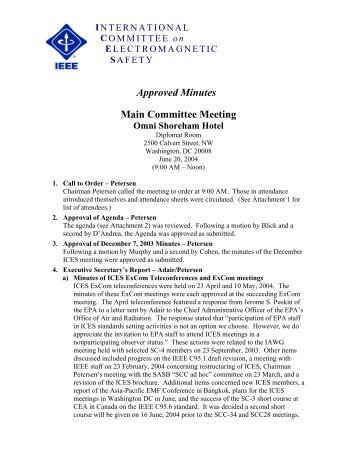 Approved Minutes - International Committee on Electromagnetic ...