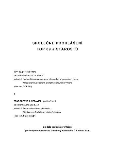 Společné prohlášení TOP 09 a Starostů pro volby