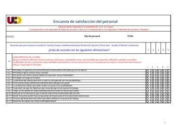 Encuesta de satisfacción del personal - Universidad de Córdoba