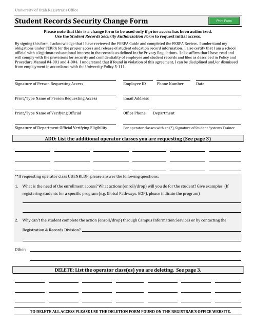 ferpa form pdf  Student Records Security Change Form (PDF) - Office of the ...