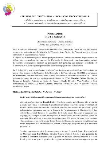 Programme 3 Juillet 2012 - Centre-Ville en Mouvement