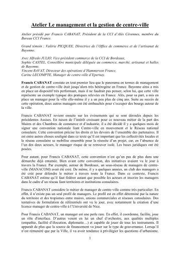 Atelier Le management et la gestion de centre-ville - Centre-Ville en ...