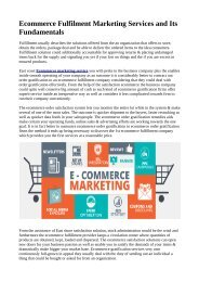 Ecommerce Fulfilment Marketing Services and Its Fundamentals
