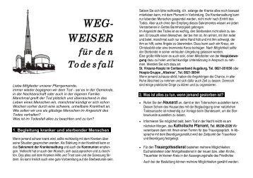 WEG- WEISER für den Todesfall - Bistum Augsburg