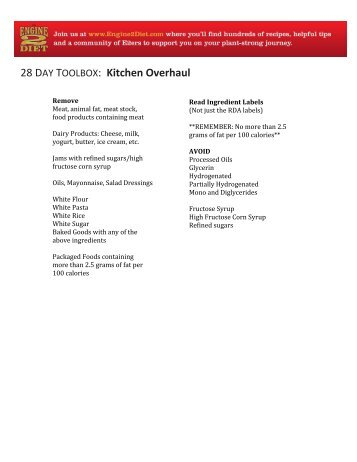 28 DAY TOOLBOX: Kitchen Overhaul - The Engine 2 Diet