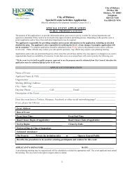 1 City of Hickory Special Events/Activities Application SPECIAL ...