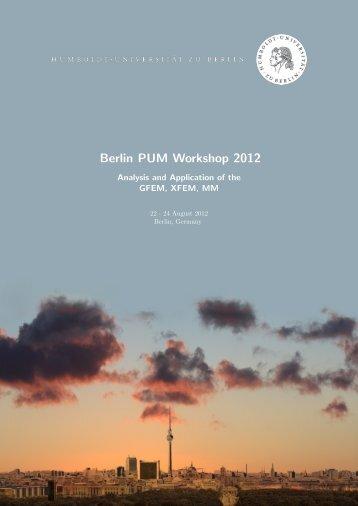 Berlin PUM Workshop 2012 - Institut für Mathematik - HU Berlin