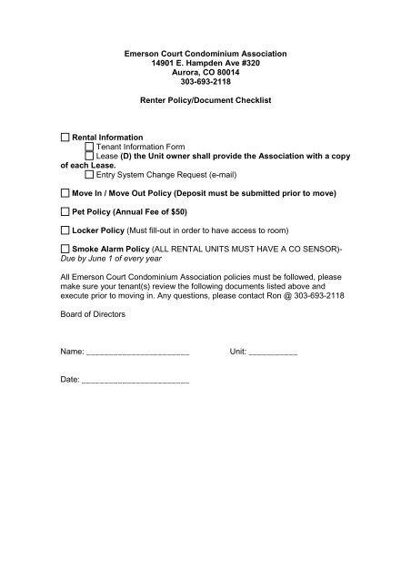 Renter Packet - Cherry Creek HOA Professionals