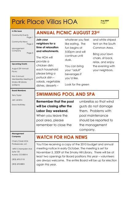 Park Place Villas HOA - Cherry Creek HOA Professionals, LLC