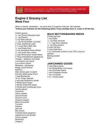 weekly grocery list the engine 2 diet
