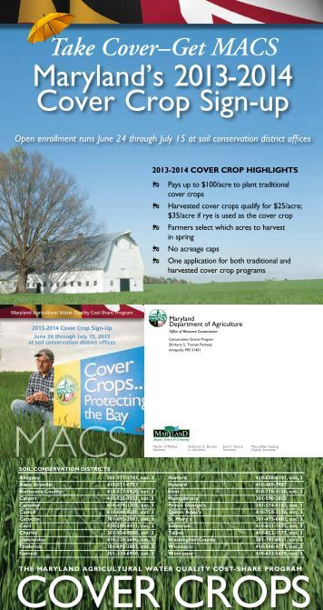 2013-2014 Cover Crop Program - Maryland Department of Agriculture