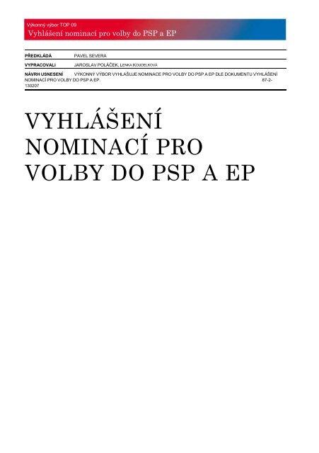 VYHLÁŠENÍ NOMINACÍ PRO VOLBY DO PSP A EP.pdf - TOP 09