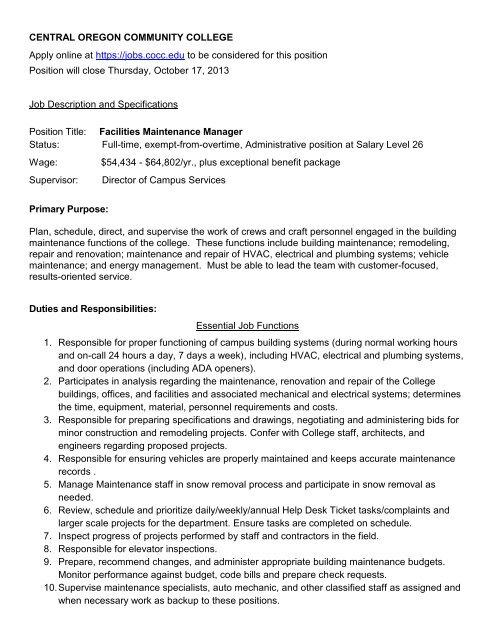 Facilities Maintenance Manager - OSFMA