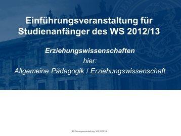 Einführungsveranstaltung - Lehrstuhl für Allgemeine ...