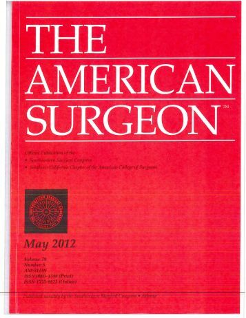 The American Surgeon May 2012, Vol.78 Iss.5 - MCCG General ...