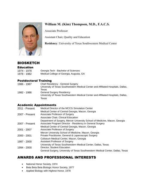 Bio/CV - MCCG General Surgery Residency