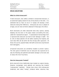 a Patient Information Sheet on Cerebral Aneurysms - Mr Paul D'Urso