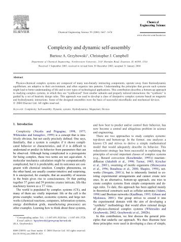 Complexity and dynamic self-assembly