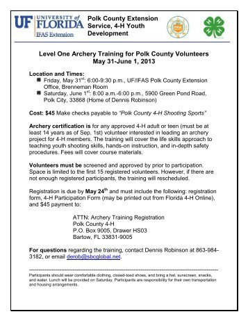 Polk County Extension Service, 4-H Youth Development Level One ...