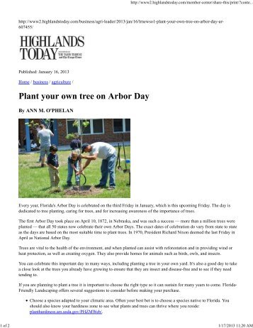 Plant Your own Tree on Arbor Day - Okeechobee County Extension ...