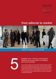 from editorial to market - Publishers' Forum 2013