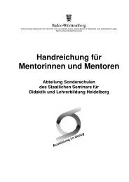 Handreichung für Mentorinnen und Mentoren - Seminare BW