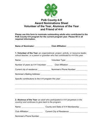 4-H Volunteer Award Application - Polk County Extension Office