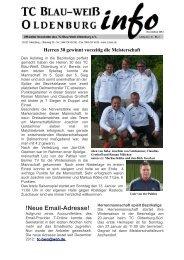 !Neue Email-Adresse! - Tennisclub Blau-Weiß Oldenburg