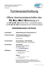 Turnierausschreibung - Tennisclub Blau-Weiß Oldenburg