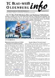 Der TC Blau-Weiß Oldenburg fährt zum Hamburger Rothenbaum