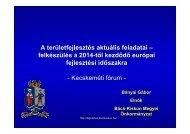 A területfejlesztés aktuális feladatai - Bács-Kiskun megye